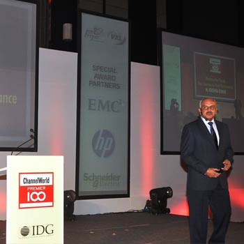 ISEC Founder & Master Coach, Krishna Kumar presenting 'Revamp the Champ - Journey to Peak Performance' at the Channel World Premiere 100 Event